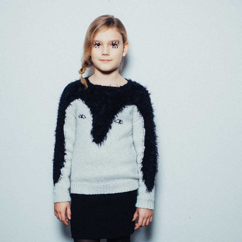 Girl Wearing Noé and Zoë Penguin Fluffy Knitted Jumper