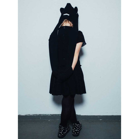 Girl Wearing Noé and Zoë AW16 Black Bubble Peterpan Dress