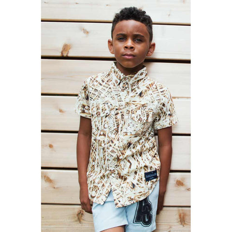 Boy wearing Agatha Cub Zombie Tan Button Down Shirt - Yellow Lolly
