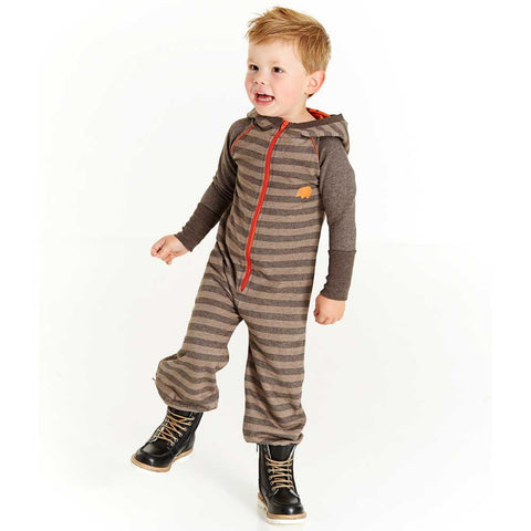 Boy Wearing Albababy AW16 Hulliver Java Striped Jumpsuit