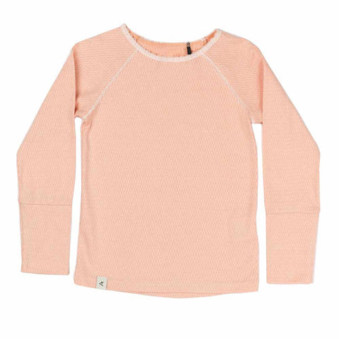 Albababy SS17 Ghita Dusty Rose Girl's Pointelle T Shirt at Yellow Lolly