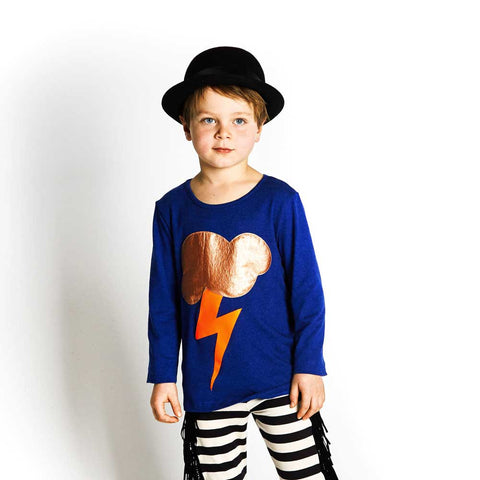 Boy Wearing BangBang Copenhagen Blue Lightening T Shirt