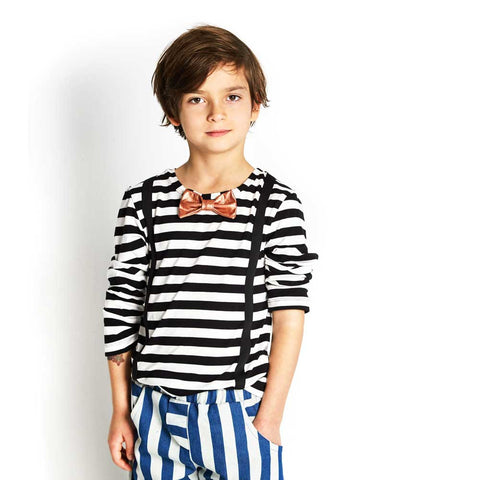 Boy Wearing BangBang Copenhagen Woody Striped T Shirt