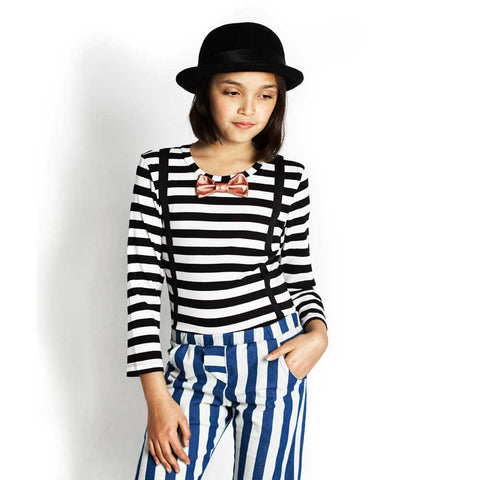 Girl Wearing BangBang Copenhagen Woody Striped T Shirt