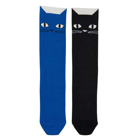 BangBang Copenhagen Black/Blue Cats Socks - Yellow Lolly