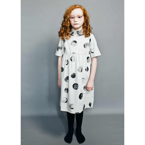 Girl Wearing Beau Loves Dove Grey Mr Moon Margo Collar Dress