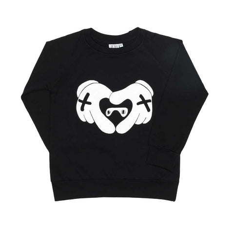 Beau LOves Inky Black Heart Hands Raglan Sweat Top at Yellow Lolly