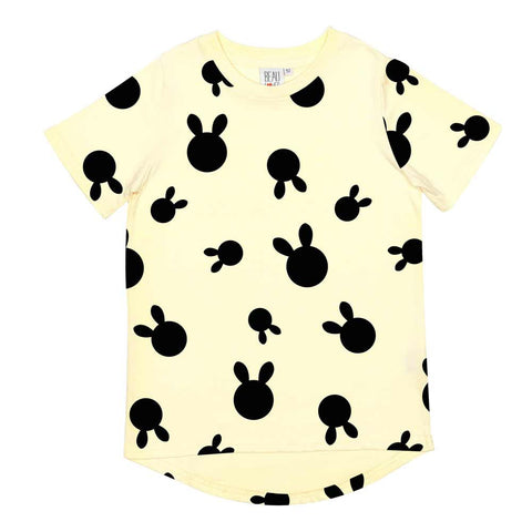 Beau LOves Pale Lemon Rabbit Dots Fin T Shirt at Yellow Lolly