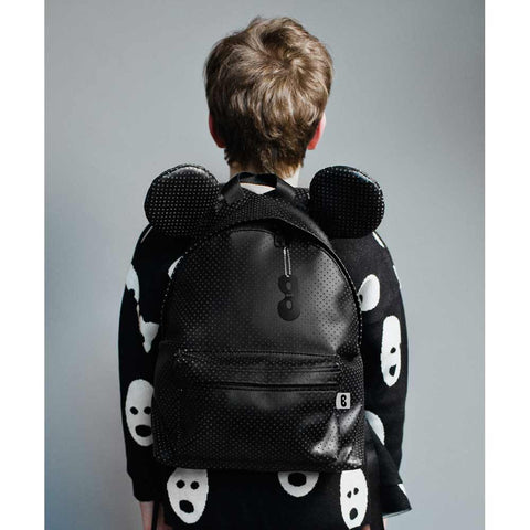 Boy Wearing Beau Loves Black Faux Leather Backpack with Ears
