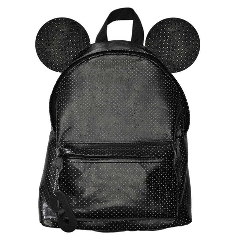Beau Loves Aw16  Black Faux Leather Backpack with Ears
