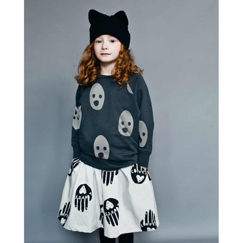 Girl Wearing Beau Loves Charcoal Grey Ghosts Cut Jumper