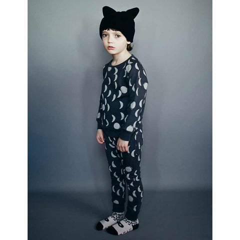 Boy Wearing Beau Loves Jet Black Knitted Hat with Ears