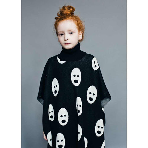 Girl Wearing Beau Loves Jet Black Loose Knit Ghosts Cape
