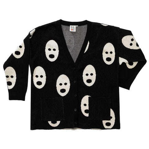 Beau Loves Aw16 Jet Black Loose Knit Ghosts Cardigan
