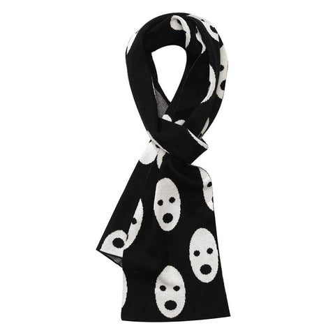 Beau Loves AW16 Jet Black Knitted Ghosts Scarf at Yellow Lolly
