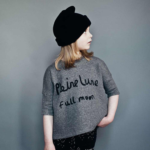 Girl Wearing Beau Loves Silver Fleck Pleine Lune Oversized Top