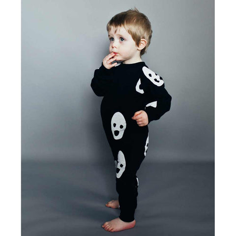 Toddler Wearing Beau Loves Ghosts Fleecy Romper