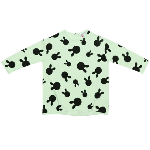 Beau LOves Pale Lime Rabbit Dots Voyage Sweatshirt at Yellow Lolly