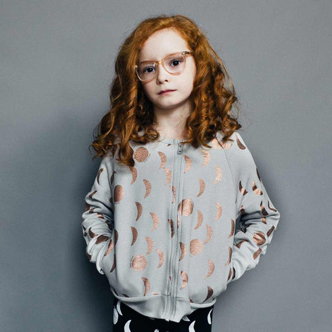Girl Wearing Beau Loves Copper Foil Moons Zipped Sweatshirt