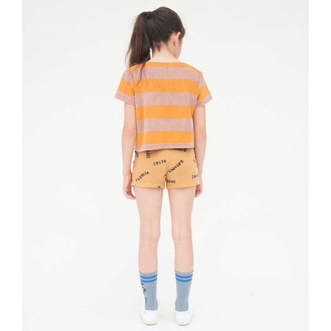 Back of Girl wearing Bobo Choses Yellow Stripe Terry Top - Yellow Lolly