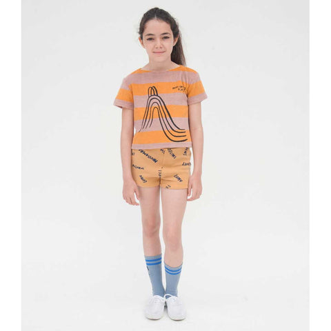 Girl wearing Bobo Choses Yellow Stripe Terry Top - Yellow Lolly