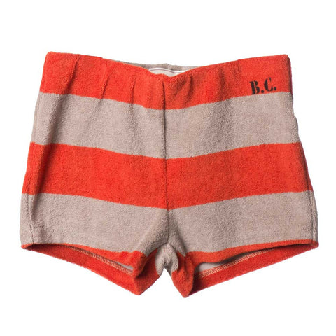 Bobo Choses Red Clay Striped Terry Shorts - Yellow Lolly