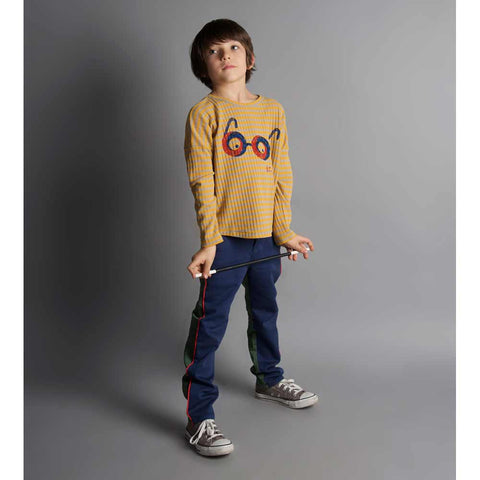 Boy wearing Bobo Choses Loose Ribbed Glasses T Shirt - Yellow Lolly