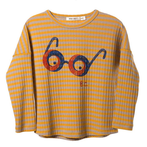 Bobo Choses Loose Ribbed Glasses T Shirt - Yellow Lolly