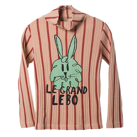 Bobo Choses AW16 Striped Bunny Ribbed Turtle Neck T Shirt at Yellow Lolly
