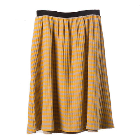 Bobo Choses AW16 Wide Rib Mustard Striped Midi Skirt at Yellow Lolly