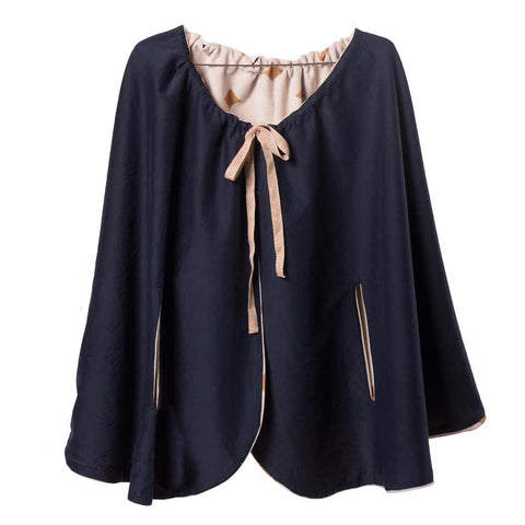 Bobo Choses Diamond Sky Velvet Cape - Navy side - Yellow Lolly
