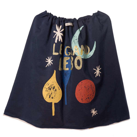 Bobo Choses Diamond Sky Velvet Cape - Back of Navy side - Yellow Lolly