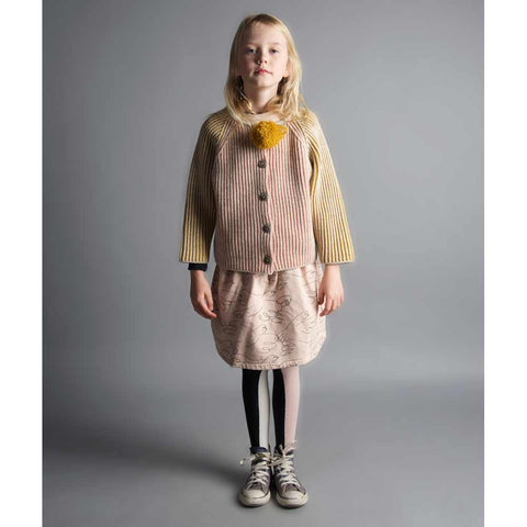 Girl wearing Bobo Choses Pink and Yellow Knitted Cardigan - Yellow Lolly