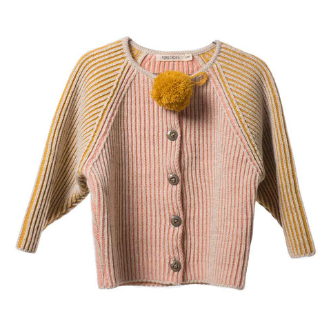 Bobo Choses Pink and Yellow Knitted Cardigan - Yellow Lolly