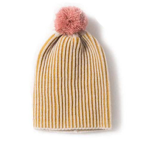 Bobo Choses AW16 Pink & Yellow Pom Pom Beanie at Yellow Lolly