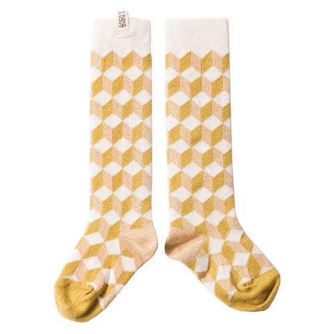Bobo Choses Op Art Yellow Long Socks - Yellow Lolly