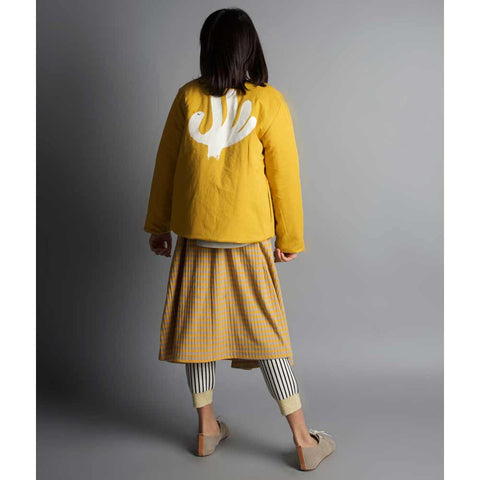 Girl wearing Bobo Choses Diamond Sky Reversible Jacket - Yellow Lolly