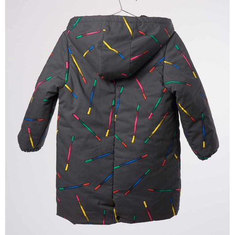 Back of Bobo Choses Charcoal Grey Magic Wands Hooded Anorak - Yellow Lolly