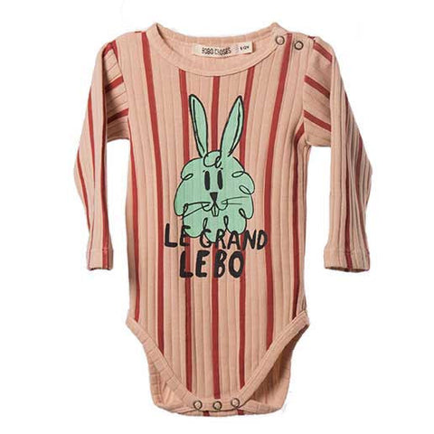 Bobo Choses AW16 Bunny Organic Cotton Ribbed Baby Body at Yellow Lolly