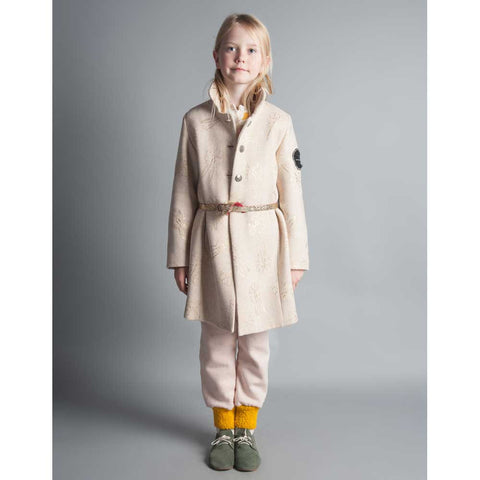 Girl Wearing Bobo Choses Cream Bunnies Flannel Coat