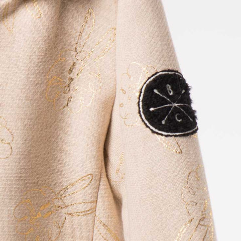 Bobo Choses Cream Bunnies Flannel Coat - Badge Detail