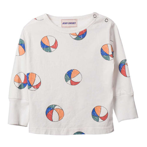 Bobo Choses White Basket Ball L/S Baby T-Shirt - Yellow Lolly