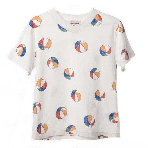 Bobo Choses White Basketball V-Neck T-Shirt - Yellow Lolly