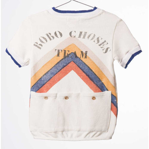Back of Bobo Choses White Gino Track Top - Yellow Lolly