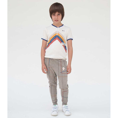 Child wearing Bobo Choses White Gino Track Top - Yellow Lolly