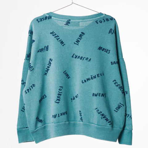 Back of Bobo Choses Teal The Legends Sweatshirt - Yellow Lolly