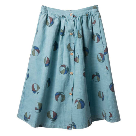 Bobo Choses Blue Basket Balls Buttoned Midi Skirt - Yellow Lolly