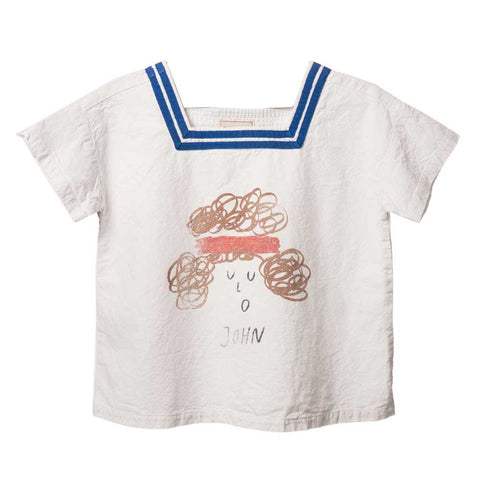 Child's Bobo Choses White Cotton John Sailor Shirt - Yellow Lolly