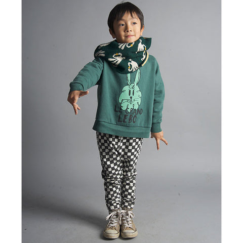 Boy Wearing Bobo Choses Green Bunny Oversized Sweatshirt