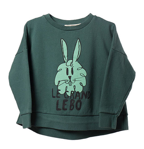 Bobo Choses AW16 Green Bunny Oversized Sweatshirt at Yellow Lolly